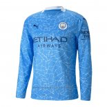 Camiseta Manchester City 1ª Manga Larga 2020-2021